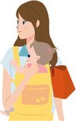 子どもを抱っこする女性のイラスト